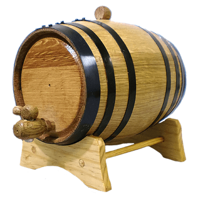 2 Liter Oak Barrel with Black Steel Hoops