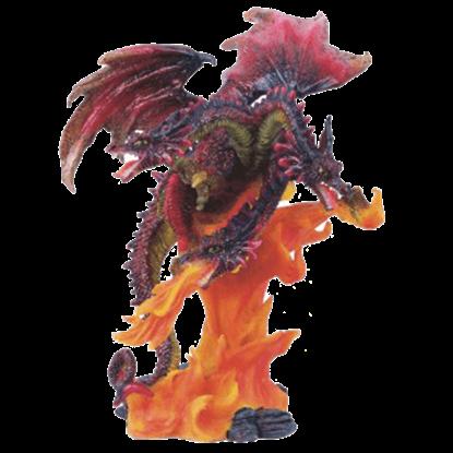 3 Headed Fire Dragon Statue