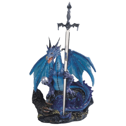 Blue Dragon with Sword Statue