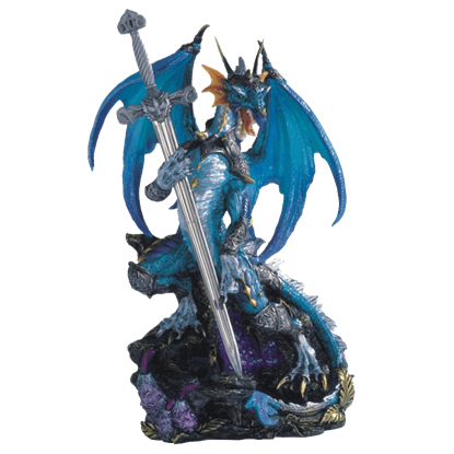 Armored Blue Dragon and Sword Statue