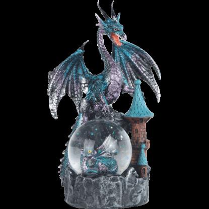 Blue Dragon on Castle Snow Globe