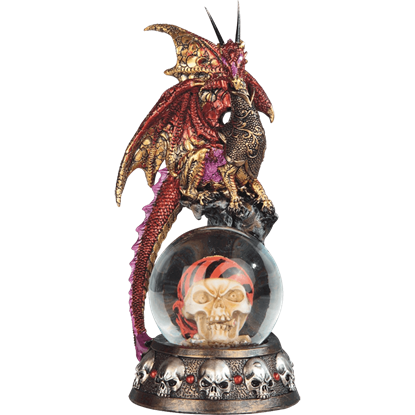 Red Dragon on Pirate Skull Snow Globe