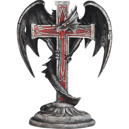 Dragon with Cross Gothic Candleholder