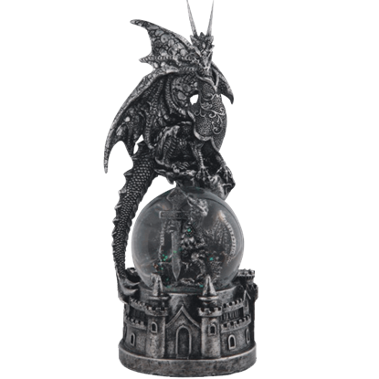 Dragon and Sword Snow Globe with Castle Base