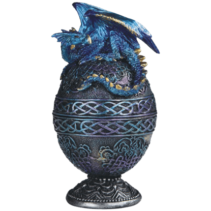Blue Dragon Ornate Egg Trinket Box