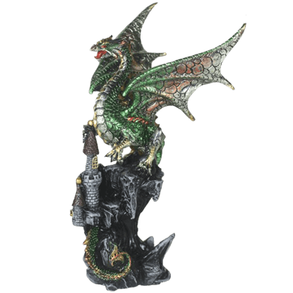 Angry Green Dragon on Castle Statue