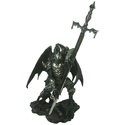Armored Black Dragon with Giant Sword Statue