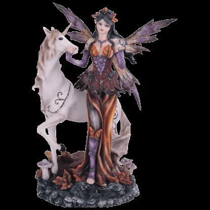 Autumn Fairy with Unicorn Statue