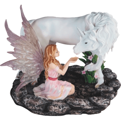 Drinking Unicorn and Pink Pixie Statue