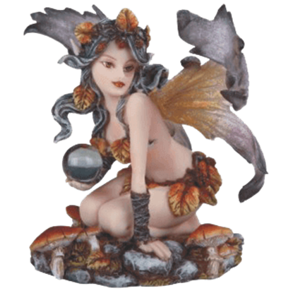 Autumn Fairy with Orb Statue