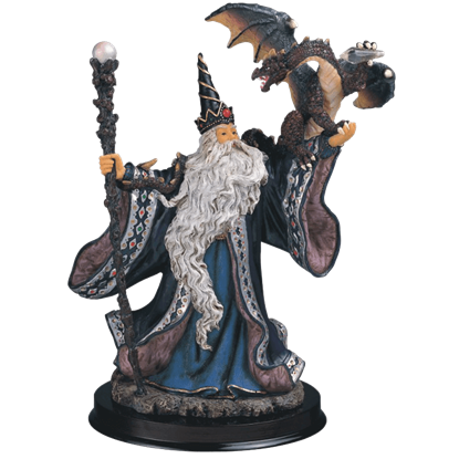 Wizard with Dragon Statue
