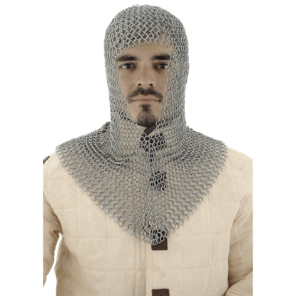 Butted Steel V Shaped Chainmail Coif