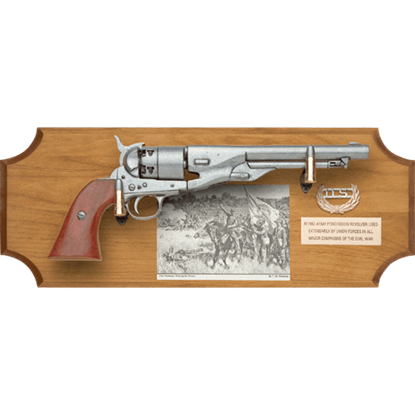 Civil War Union Pistol Wood Display Plaque
