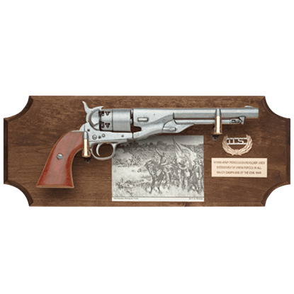 Civil War Union Pistol Dark Wood Display Plaque