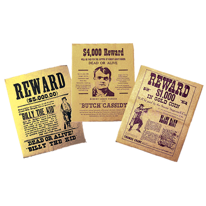 Wild West Outlaw Wanted Poster Set