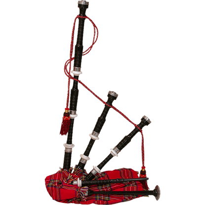 Black Rosewood Bagpipe with Tartan Cover