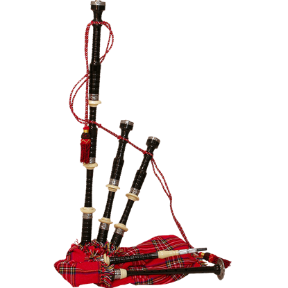Ebony Bagpipe with Red Tartan Cover