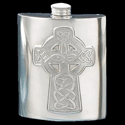 Celtic Cross Pewter Flask