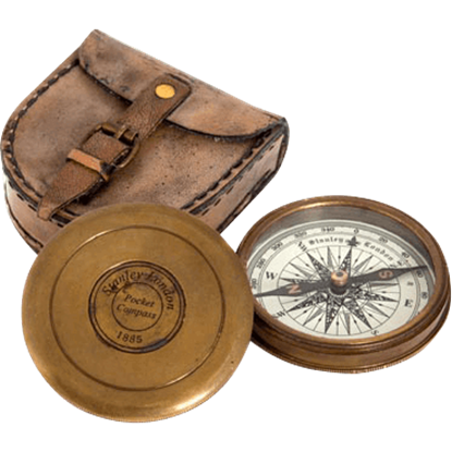Antique Pocket Compass with Pouch