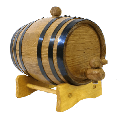 1 Liter Oak Barrel with Black Steel Hoops