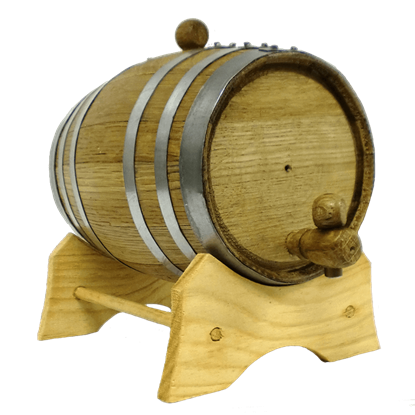 1 Liter Oak Barrel with Steel Hoops