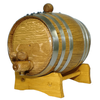 2 Liter Oak Barrel with Steel Hoops