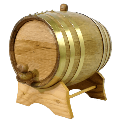 2 Liter Oak Barrel with Brass Hoops
