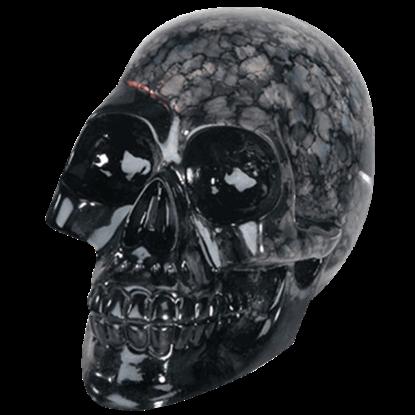 Black Crystal Skull Statue