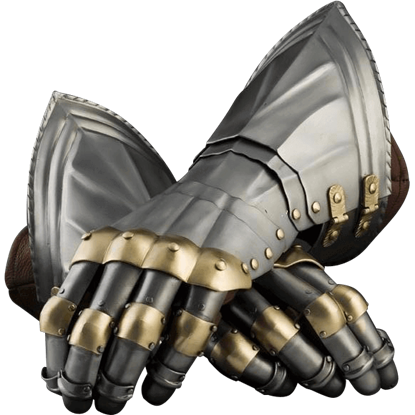 15th Century German Style Gauntlets with Brass