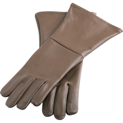 Brown Leather Historical Gloves