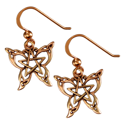 Copper Butterfly Pentagram Earrings
