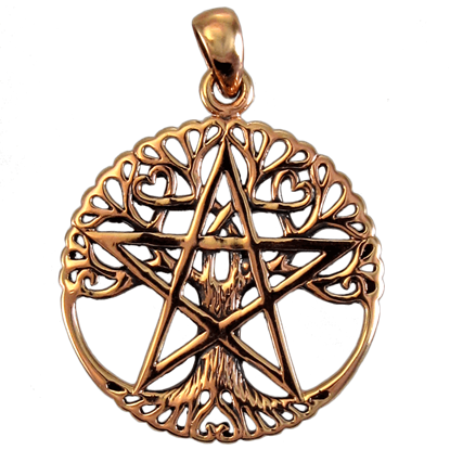 Copper Cut Out Tree Pentacle Pendant