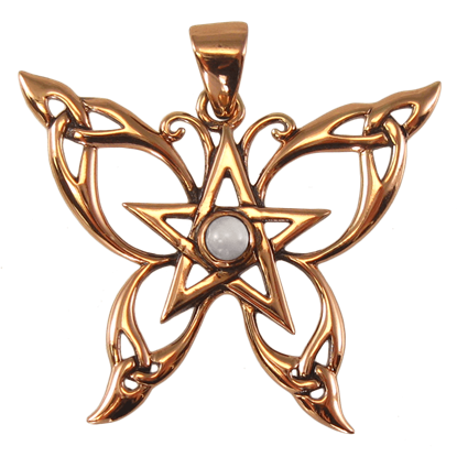 Copper Butterfly Pentagram Pendant with White Moonstone Accent