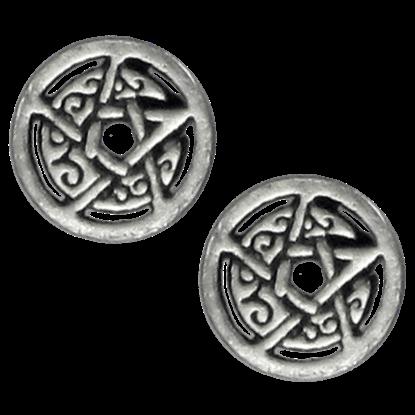 Silver Crescent Moon Pentacle Stud Earrings