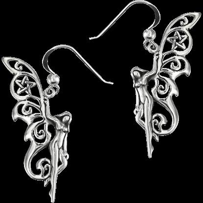 Sterling Silver Pentacle Fairy Earrings
