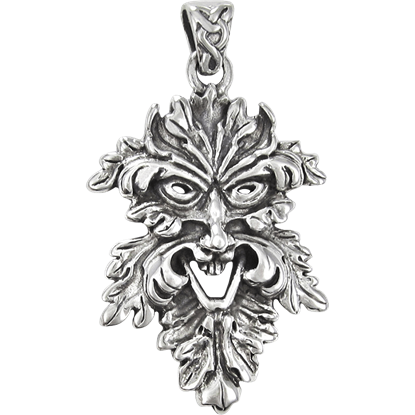 Sterling Silver Laughing Greenman Pendant
