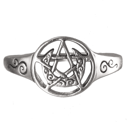 Silver Crescent Moon Pentacle Ring