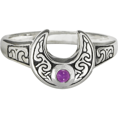 Horned Moon with Amethyst Ring