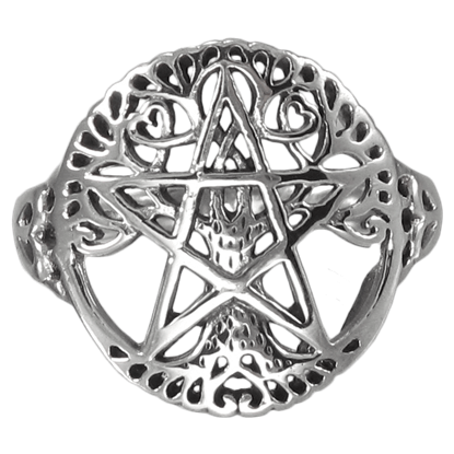 Silver Cut Out Tree Pentacle Ring
