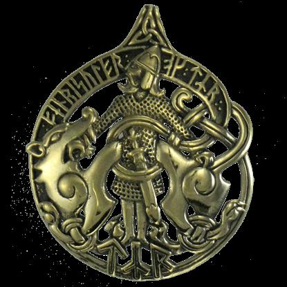 Bronze Tyr and Fenris Pendant