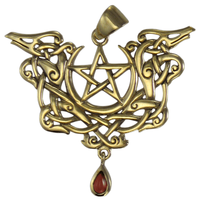 Bronze Dragon Pentacle Pendant with Garnet Accent