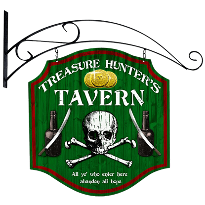 Double Sided Treasure Hunter Tavern Sign