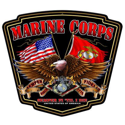 Marine Corps Flying Flags Sign