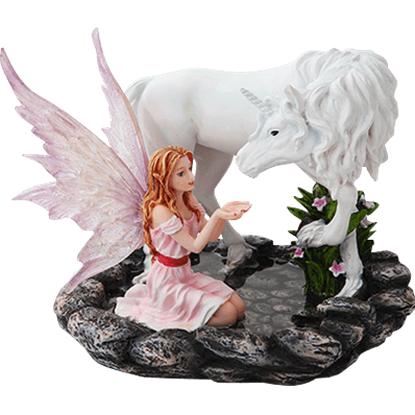 Fairy with Unicorn Statue