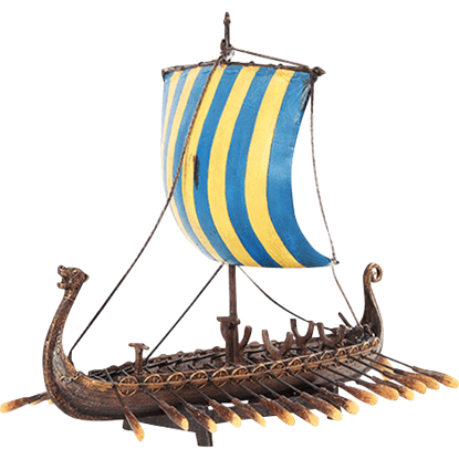 Yellow and Blue Viking Ship Replica