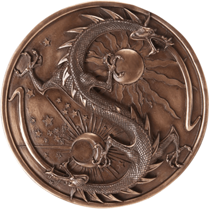 Bronze Double Dragon Alchemy Plaque
