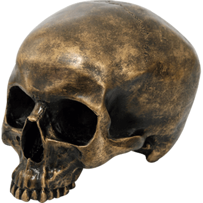 Antiqued Golden Skull