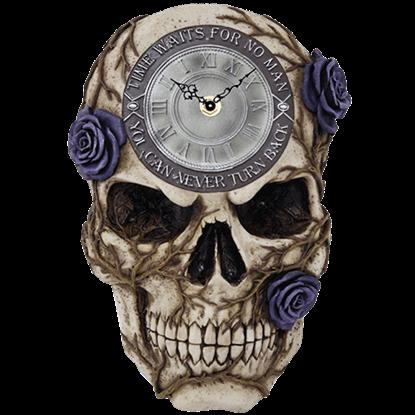 Purple Rose Skull Clock