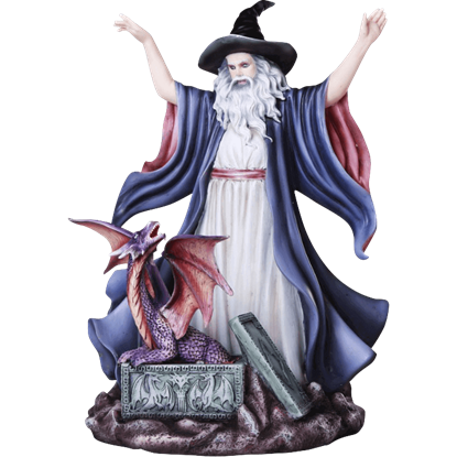 Wizard Summoning Dragon Statue