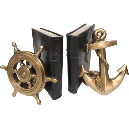 Anchor and Wheel Bookend Set